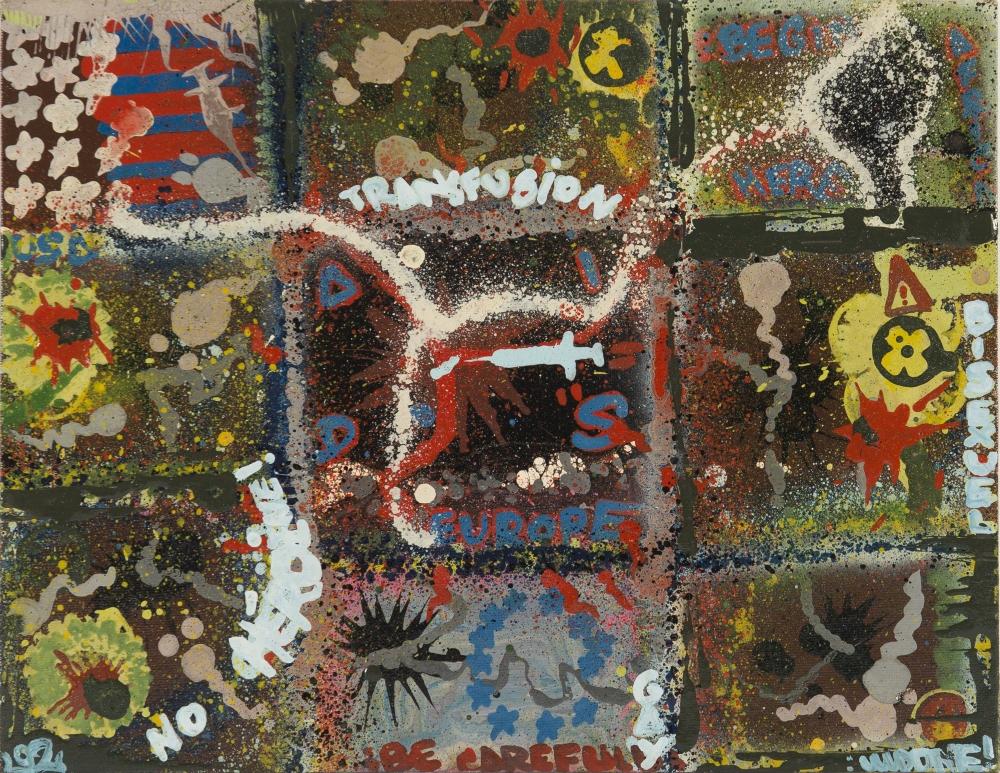 13 Basto AIDS peinture aérosols sur carton entoilé 35 x 27 cm Marseille 1992