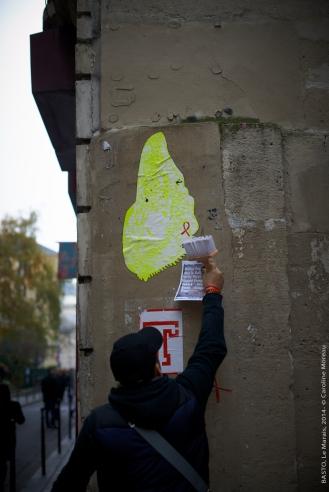 Basto collage dans le Marais for Walls & Right december 2014 Paris (FR)