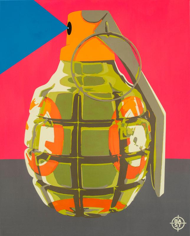 Basto toile #BBast8-Grenade 01 100 x 80 x 4 cm 2017 BD