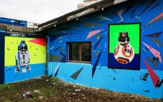 Geneva Propaganda I & II spray paint, stencils on wall 450 x 230 x 350 cm / Carouge Switzerland (CH)